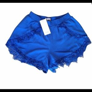 NWT Tobi Really short blue shorts with lace trim